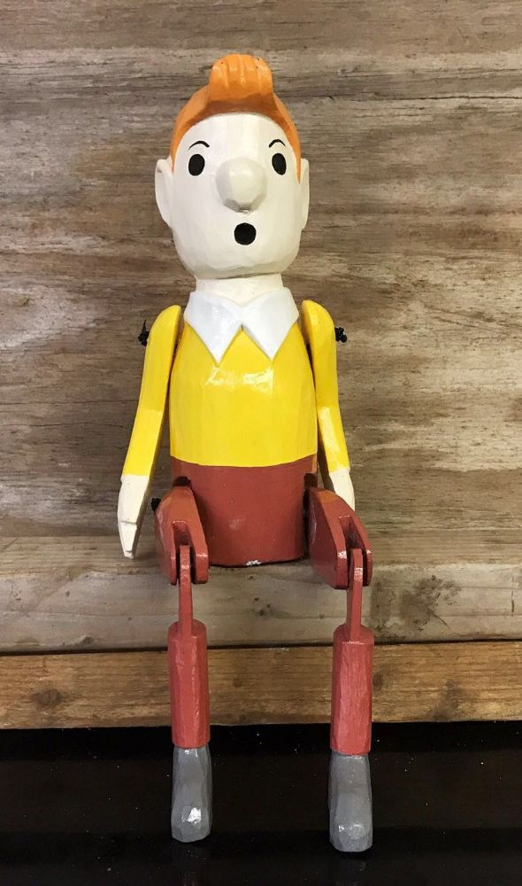 Tin Tin Adventurer Puppet Hand Carved Wooden Sitting Ornament 40cm